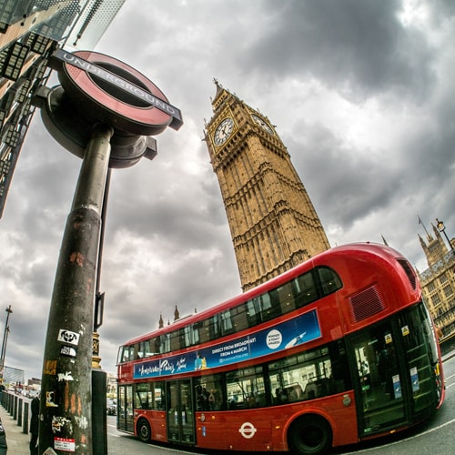 Big Ben, London Bus and tube sign, London