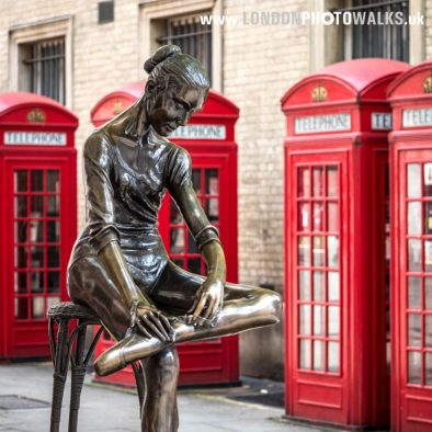 Ballet dancer statute at Covent Garden London Photo Walks