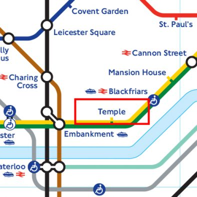 Temple Station Tube Map