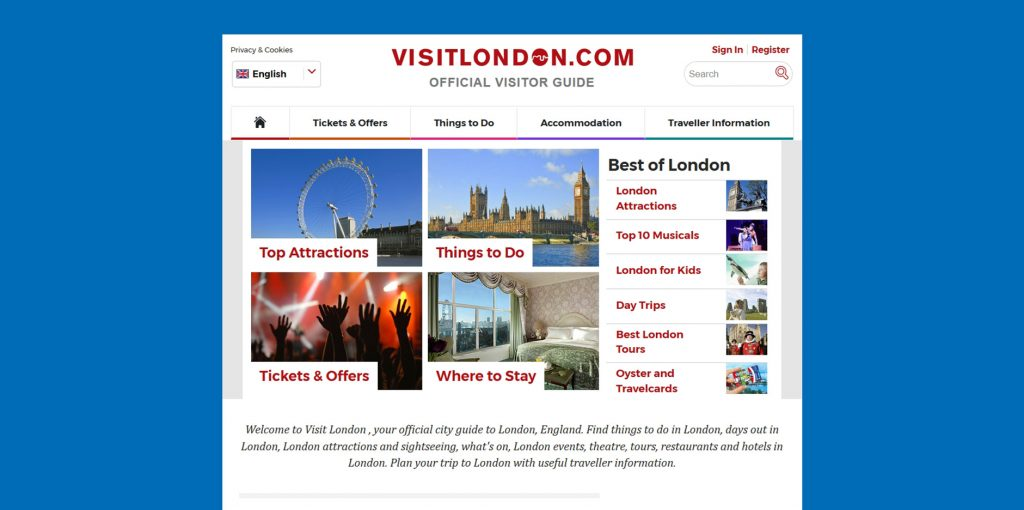 Visit London Website