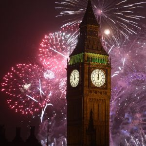 Fireworks behind Big Ben London