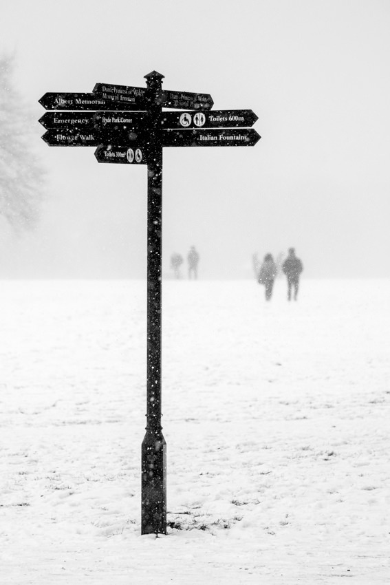 Sign in Hyde Park in the snow Black & White