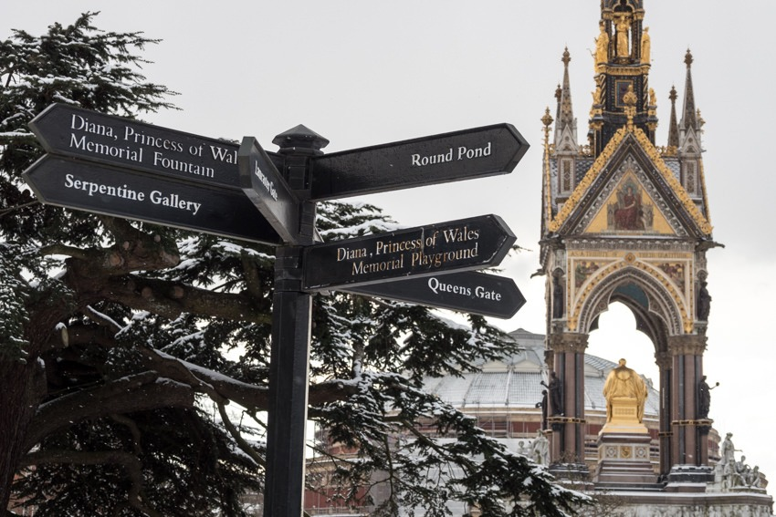 Sign and the Albert Memorial Hyde Park