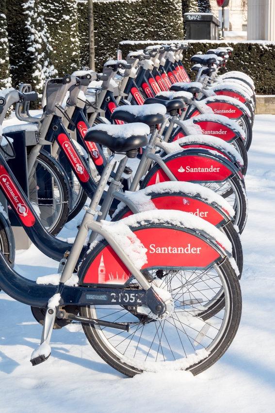 Boris Bikes in the snow in Green Park