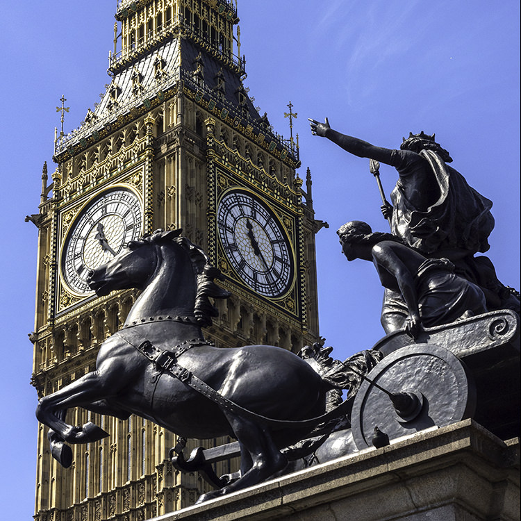 Big Ben and Boudica Westminster Bridge London