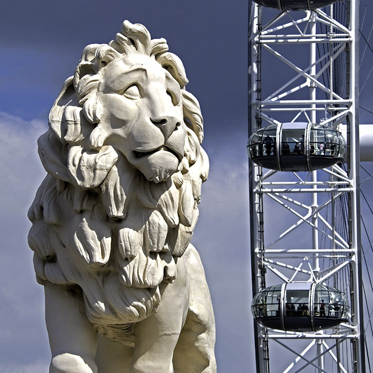 Coade Lion and The London Eye South Bank London