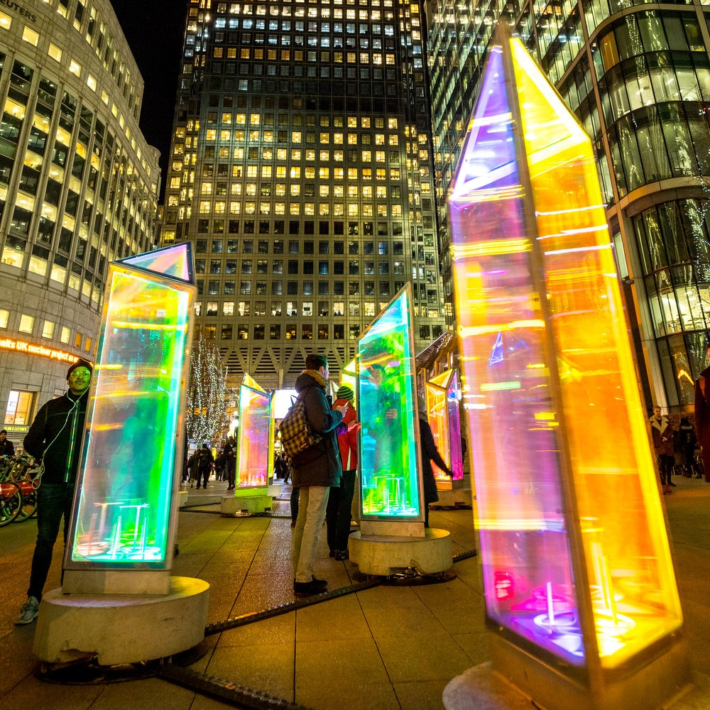 Winter Lights Canary Wharf London at night
