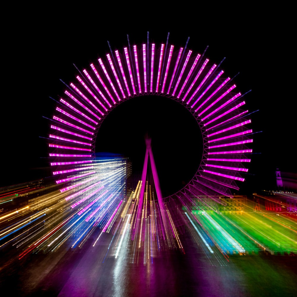 The London Eye with light streaks