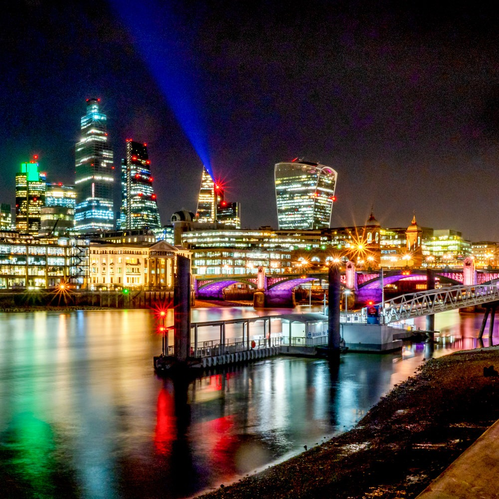 Southwark Bridge and the City of London at night