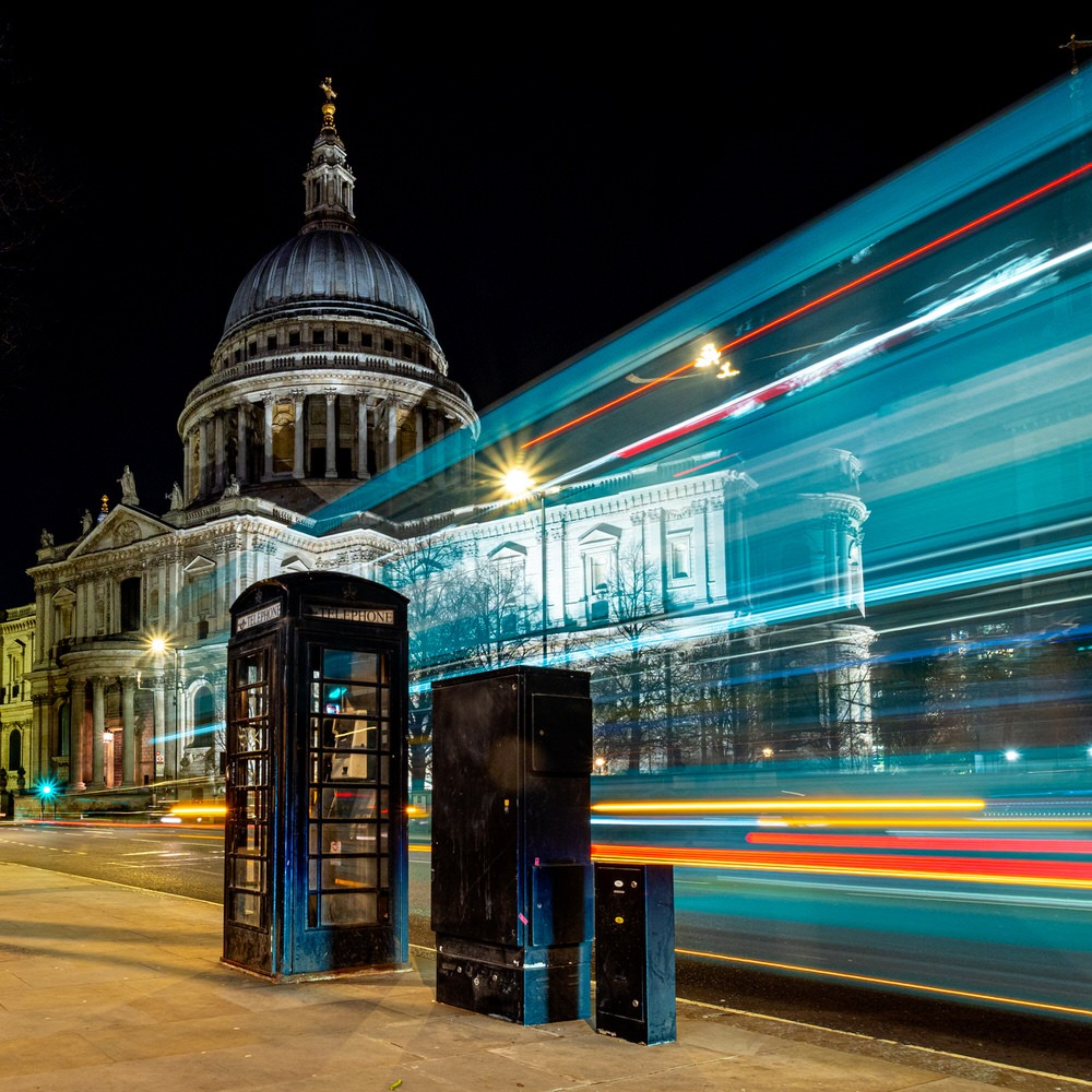 St Paul's Cathedral at night with light trails
